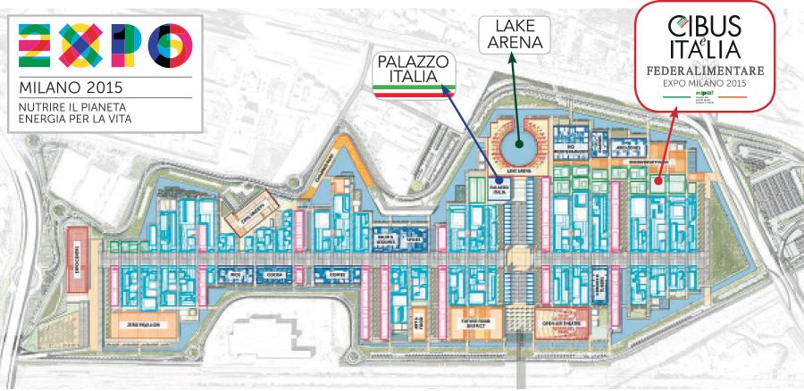 La mappa di EXPO 2015 in cui è possibile orientarsi per raggiungere il padiglione CibusèItalia