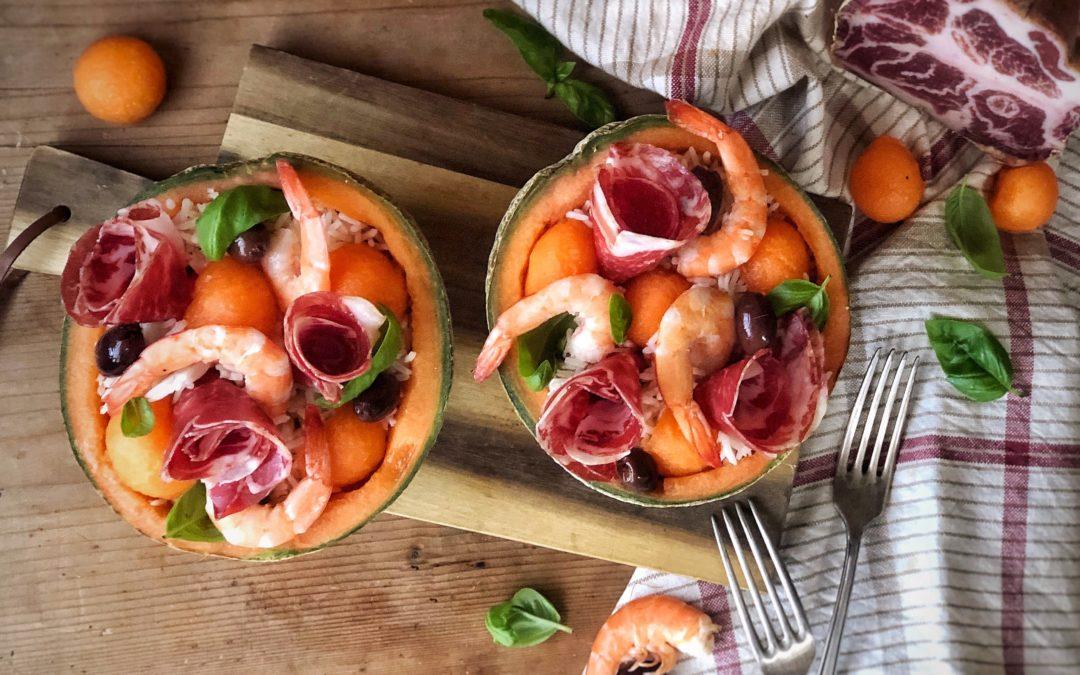 Insalata di riso ai gamberi, melone e Coppa di Parma