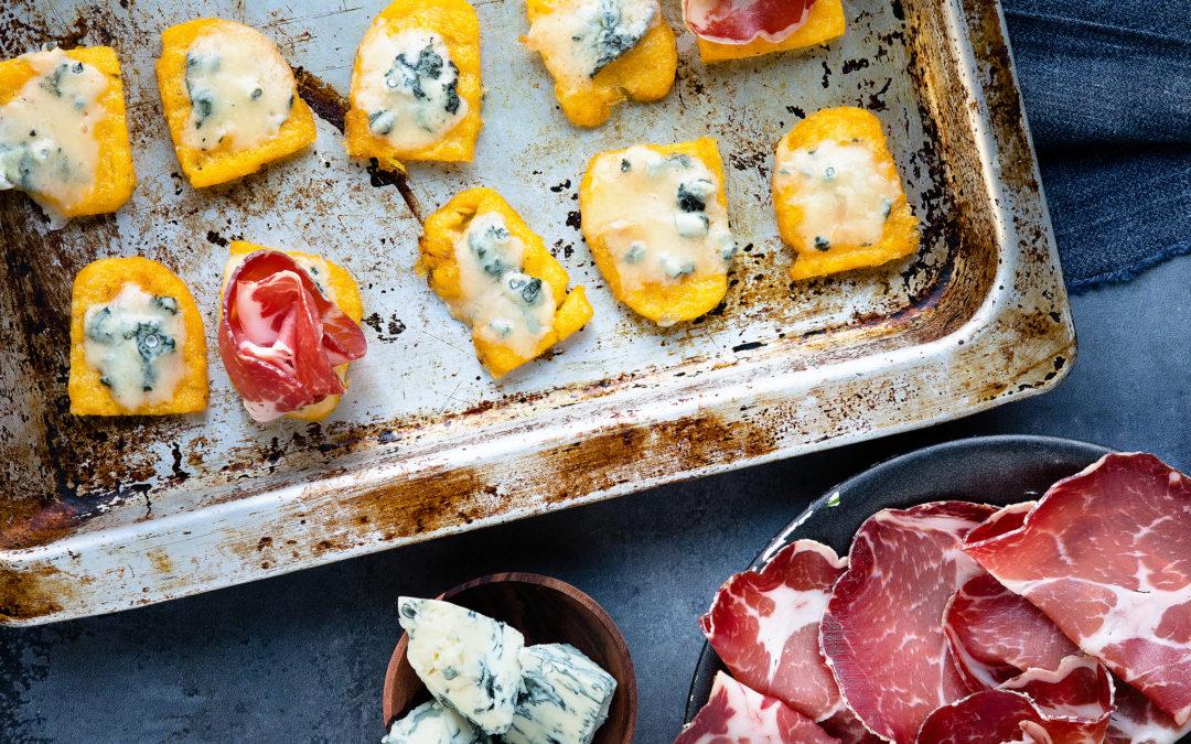 Polenta fritta con gorgonzola e Coppa di Parma
