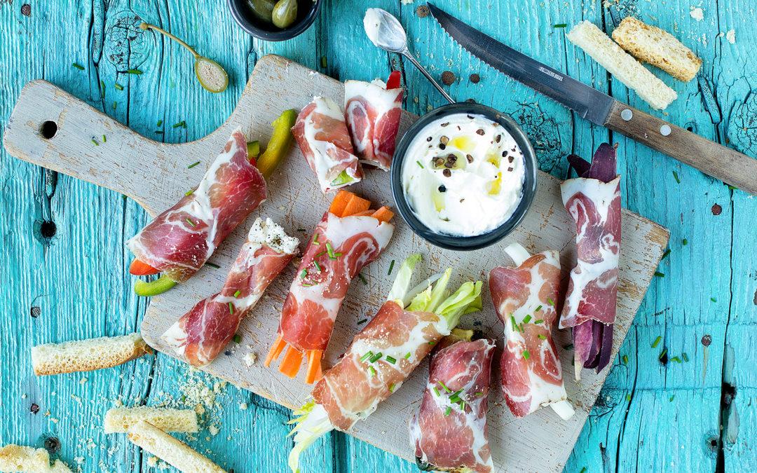 Involtini di Coppa di Parma, ricotta aromatizzata e verdure