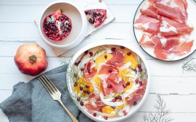 Insalata di finocchi, arancia, Coppa di Parma e melagrana