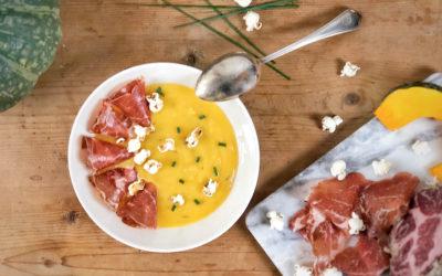 Vellutata di zucca con Coppa di Parma e pop corn