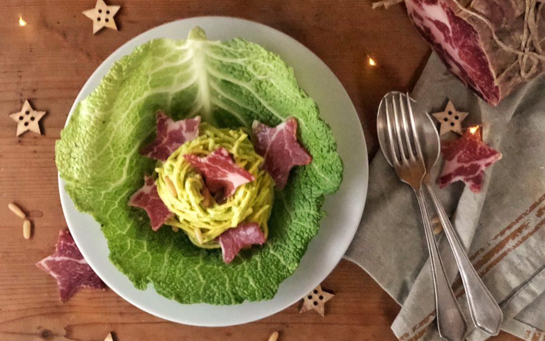 Tagliolini con crema di Verza e Coppa di Parma IGP